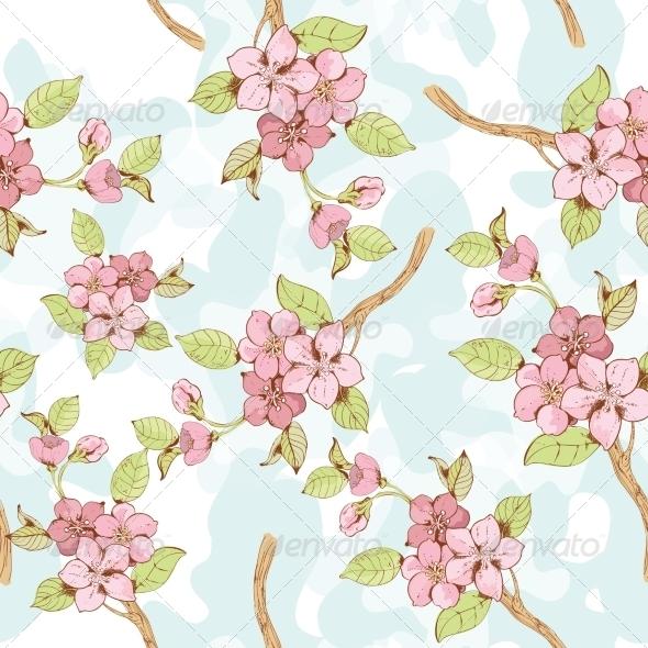 Sakura Branch Background - Backgrounds Decorative