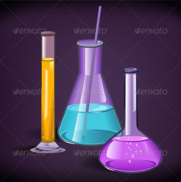 Laboratory Glassware Print Template - Health/Medicine Conceptual
