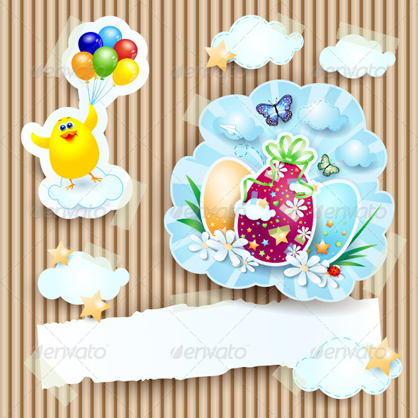 Easter Illustration with Chick and Eggs - Miscellaneous Seasons/Holidays