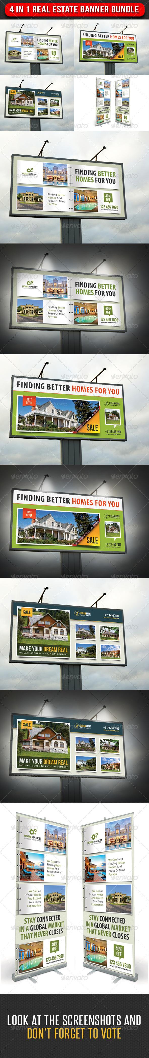 4 in 1 Real Estate Banner Bundle 03 - Signage Print Templates