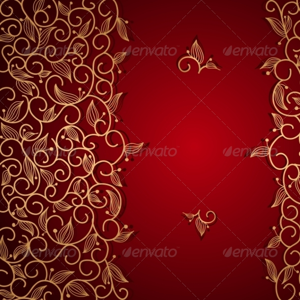 Red Invitation with Gold Lace Floral Ornament - Borders Decorative