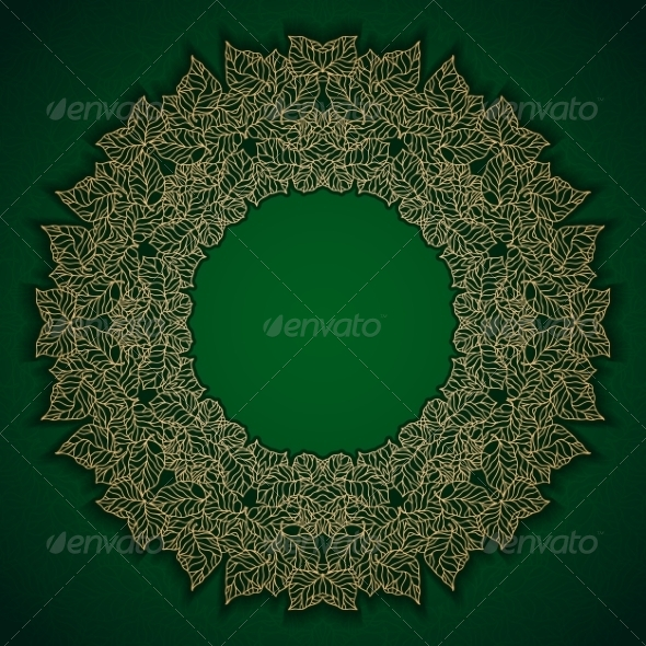 Green Luxury Pattern with Gold Leaves Frame - Patterns Decorative