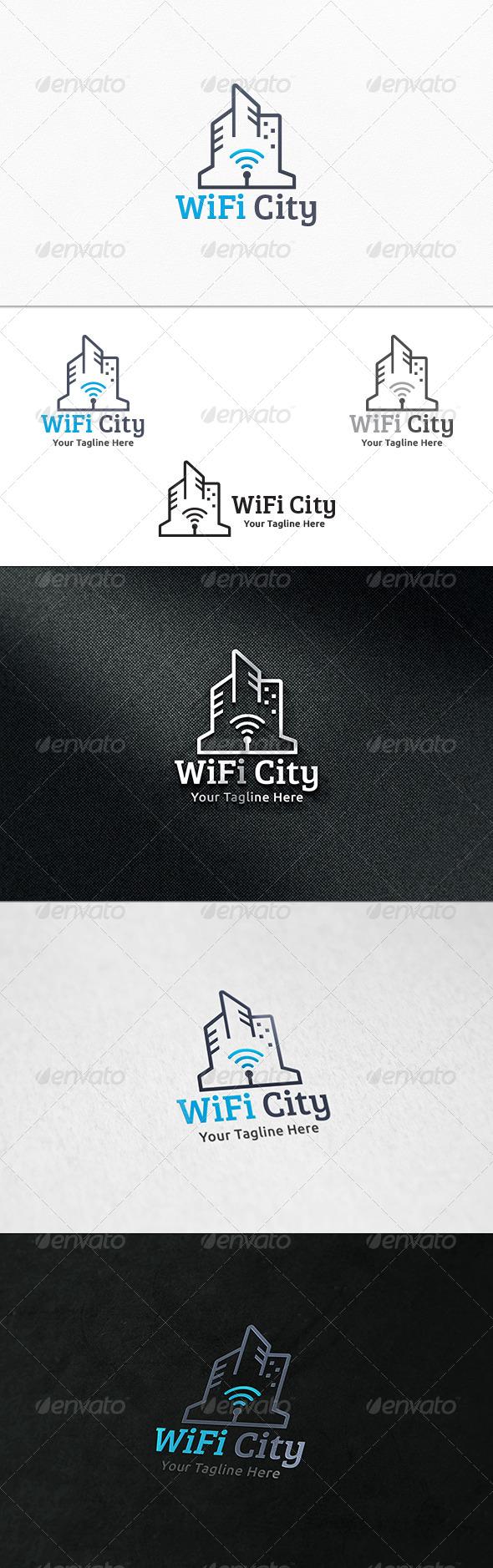WiFi City - Logo Template - Buildings Logo Templates