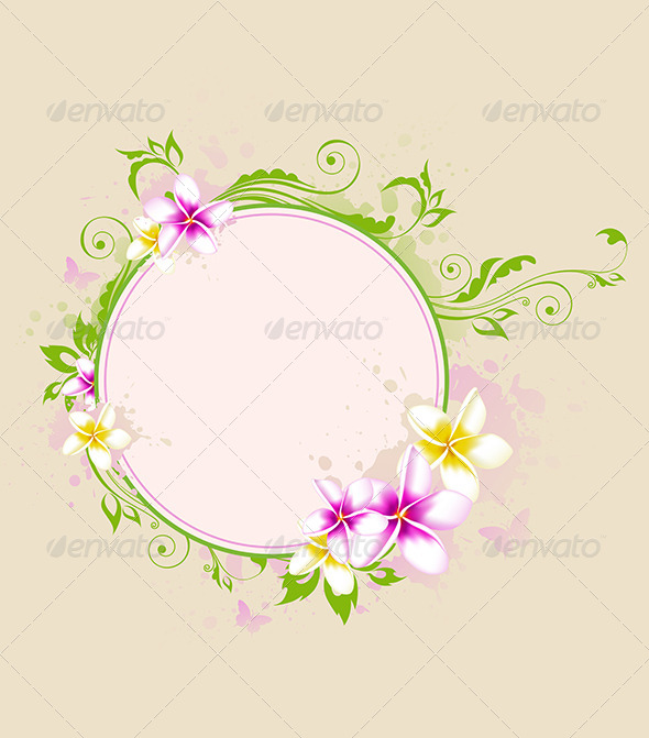 Tropical Banner with Green Leaves and Flowers - Flowers & Plants Nature