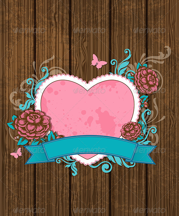Heart and Pink Roses - Valentines Seasons/Holidays