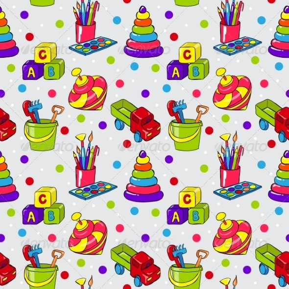 Childrens Toys Pattern - Backgrounds Decorative