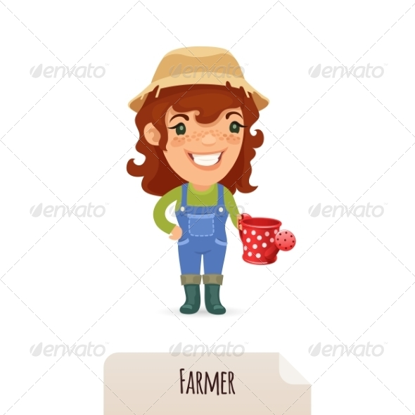 Female Farmer with a Watering Can - People Characters