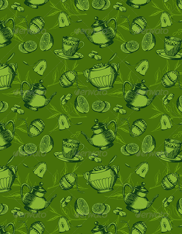 Seamless Pattern with Cup of Tea - Patterns Decorative