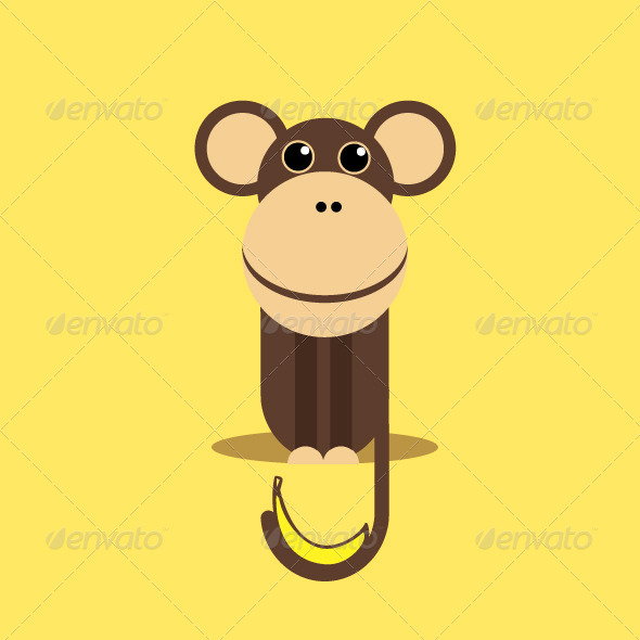 Monkey with Banana - Animals Characters