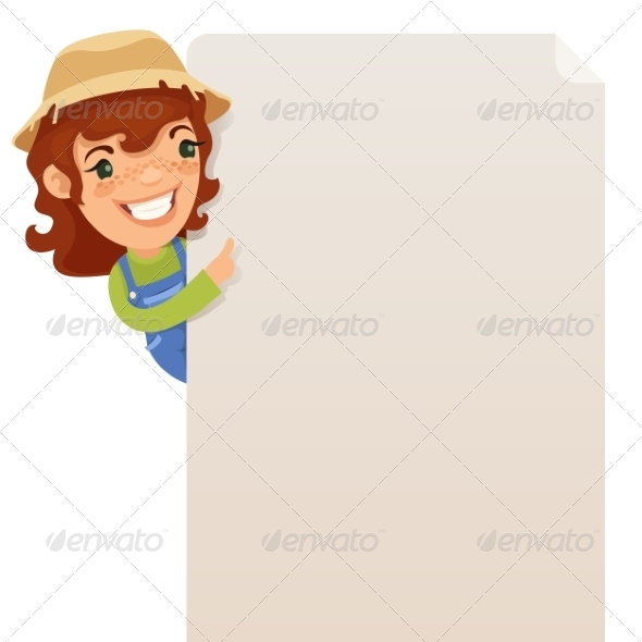 Female Farmer Looking at Blank Poster - Backgrounds Decorative