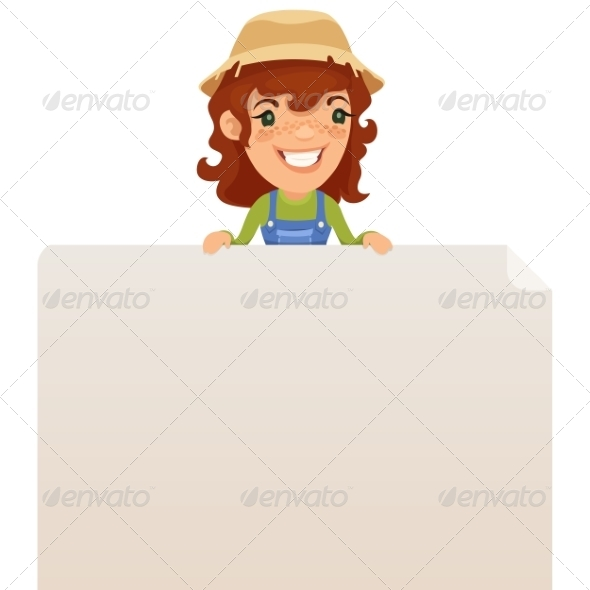 Female Farmer looking at Blank Poster on Top - Backgrounds Decorative