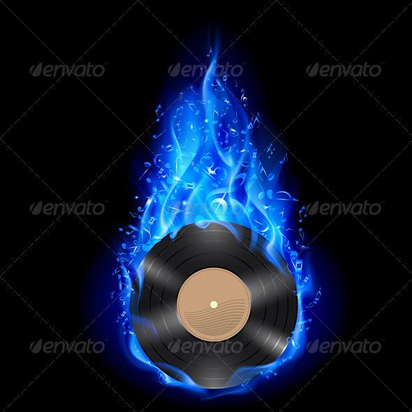 Vinyl Disc in Blue Fire - Miscellaneous Vectors