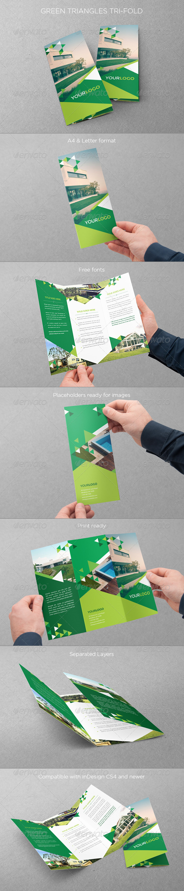 Green Triangles Trifold - Brochures Print Templates