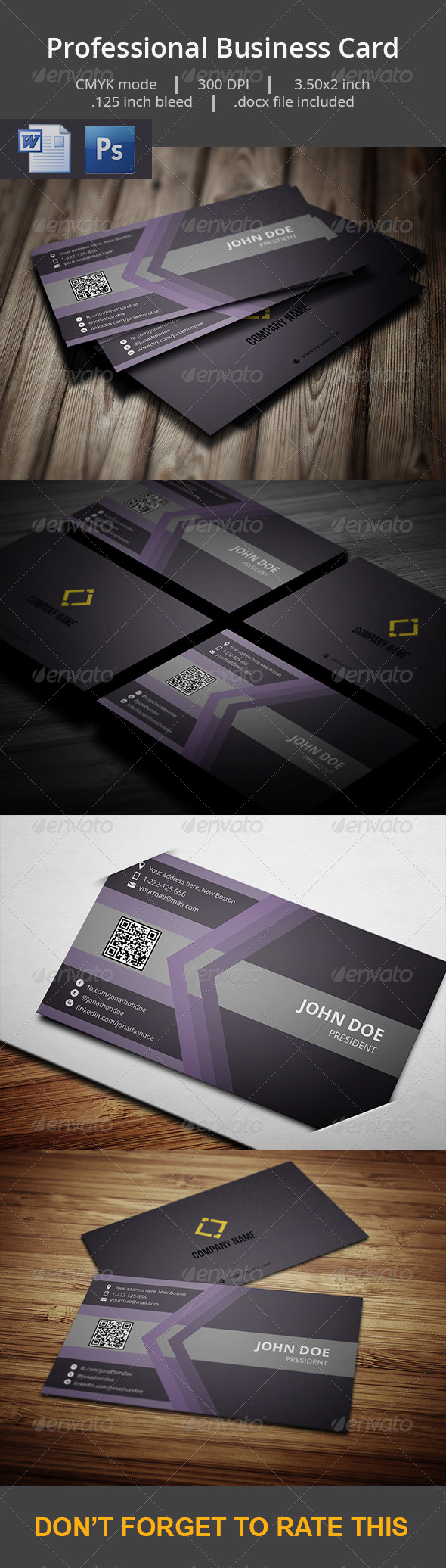 Professional Business Card With MS Word Doc - Business Cards Print Templates