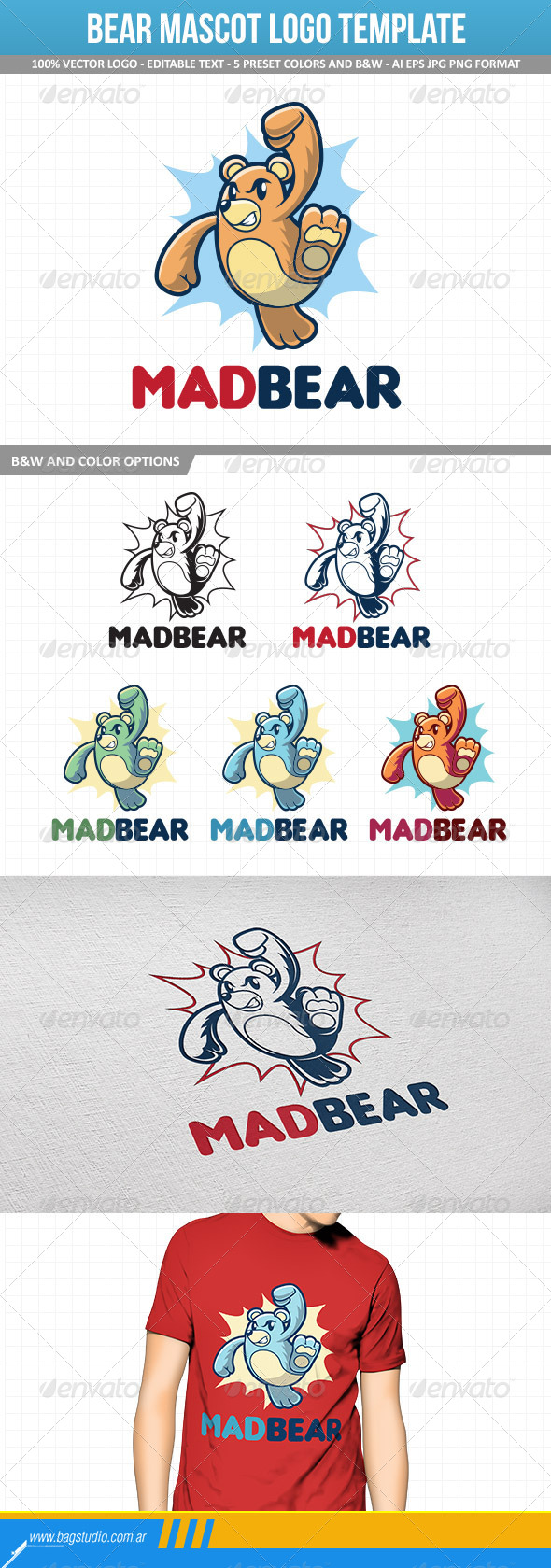 Bear Mascot Logo Template - Animals Logo Templates