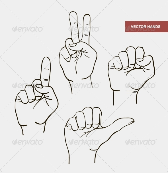 Vector Hand Drawn Image Hands - People Characters