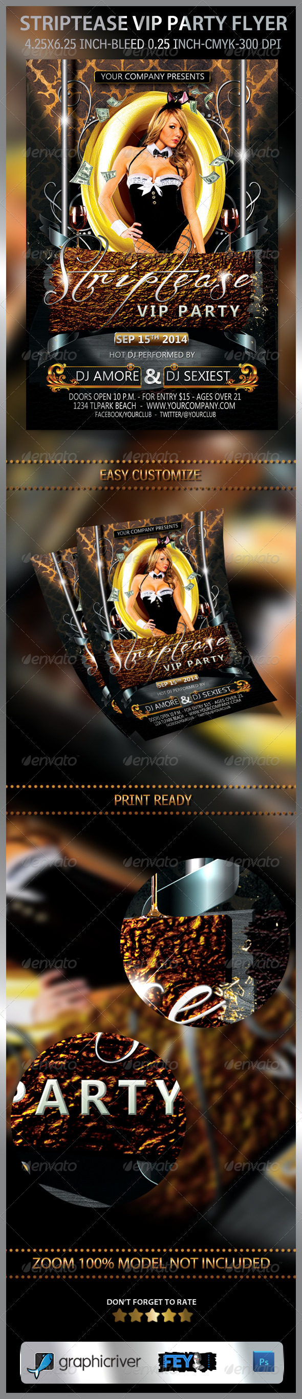 Striptease VIP Party Flyer - Clubs & Parties Events