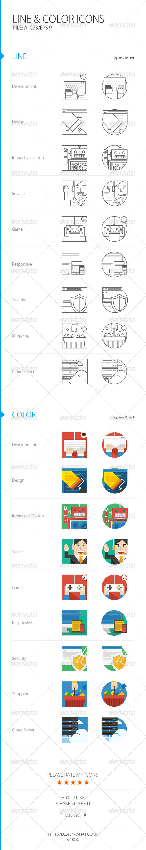 Line&Color ICONs - Web Icons
