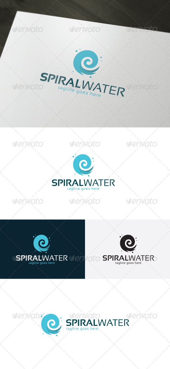 Spiral Water Logo - Vector Abstract