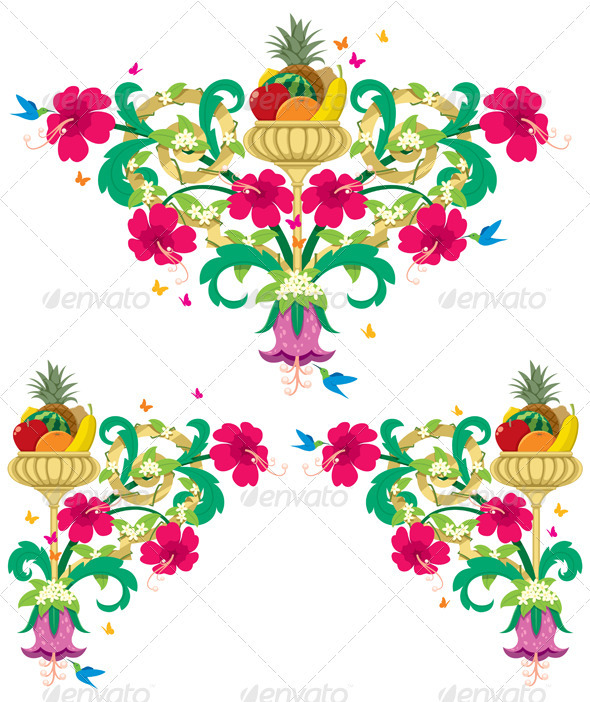 Tropical Floral Borders – Retro - Flourishes / Swirls Decorative