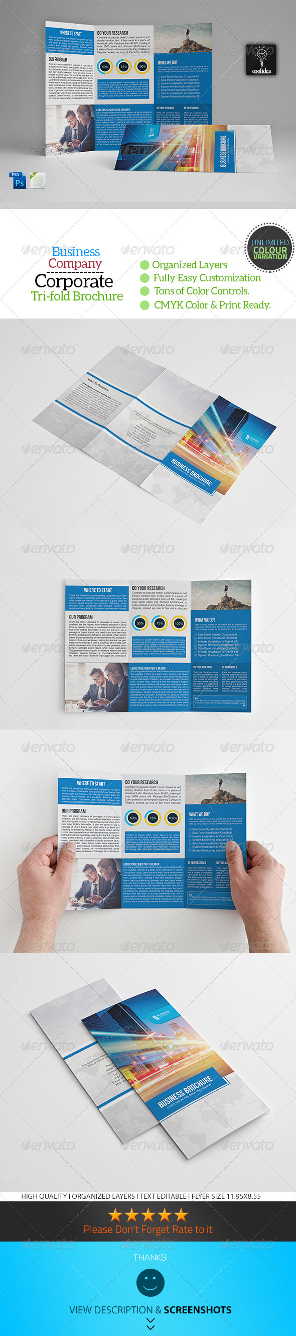 A4 Trifold Business Brochure Template Vol07 - Corporate Brochures