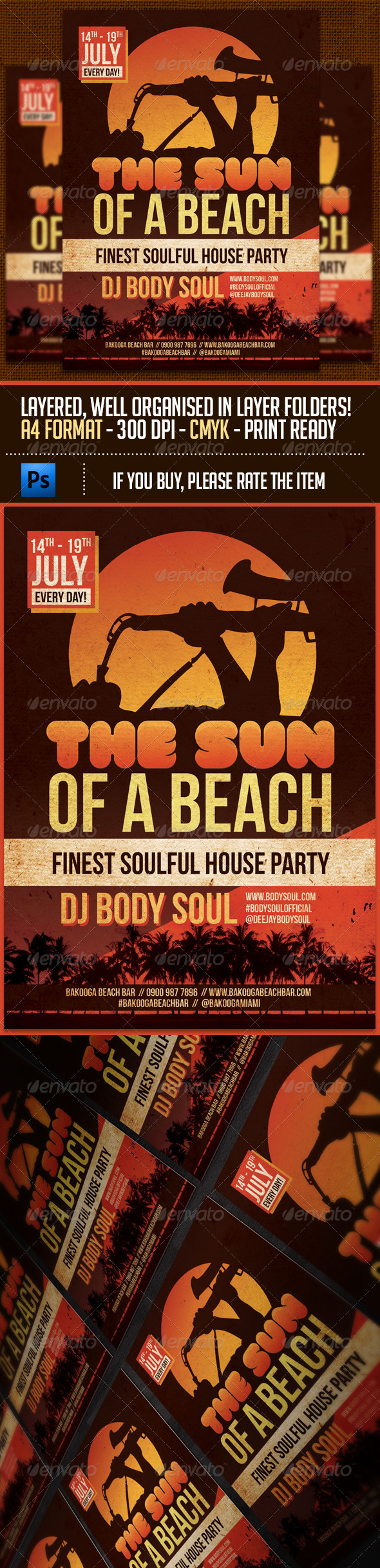 The Sun Of A Beach Party Flyer Template - Clubs & Parties Events