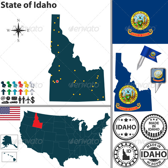Map of State Idaho, USA - Travel Conceptual
