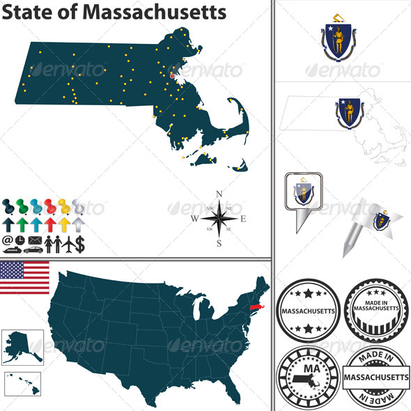 Map of State Massachusetts, USA - Travel Conceptual