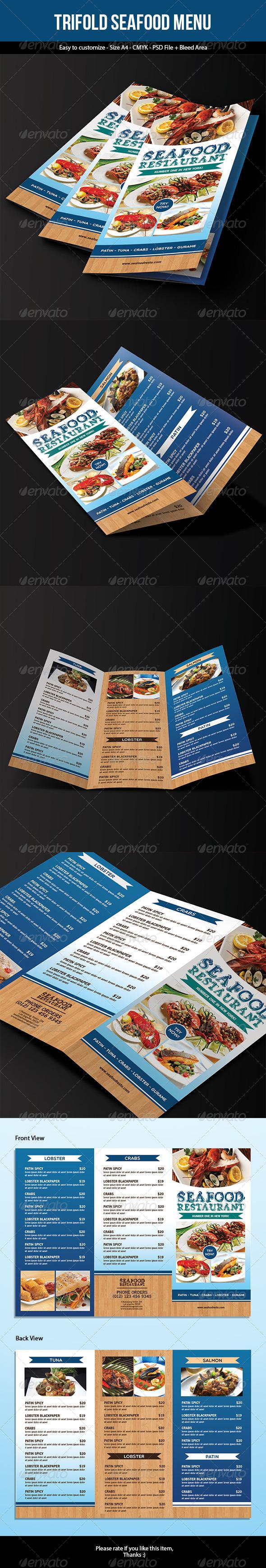 Trifold Seafood Menu - Food Menus Print Templates