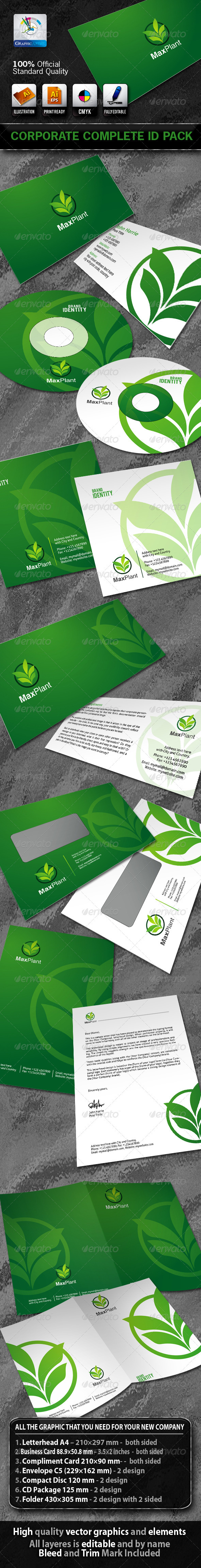 MaxPlant Business Corporate ID Pack With Logo - Stationery Print Templates