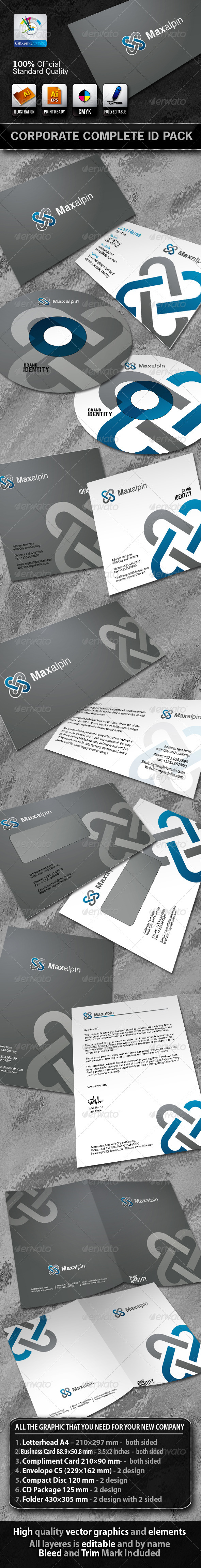 Maxalpin Business Corporate ID Pack With Logo - Stationery Print Templates