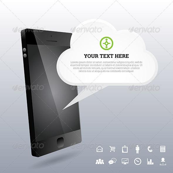 Phone 3D Cloud Design Elements - Communications Technology