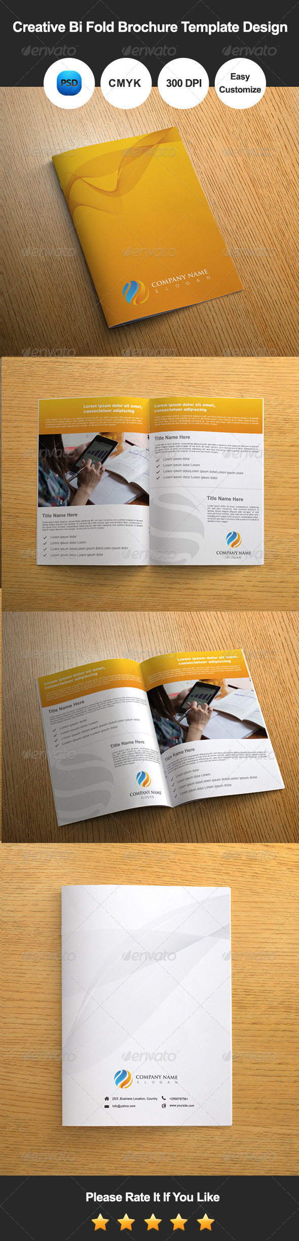 Creative bi fold brochure template design by for Corporate bi fold brochure template