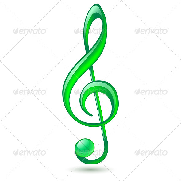 Green Treble Clef - Miscellaneous Vectors