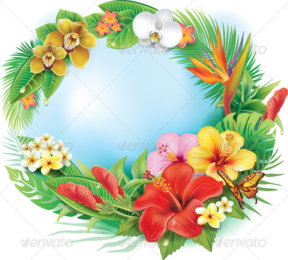 Round Banner from Tropical Flowers and Leaves - Flowers & Plants Nature