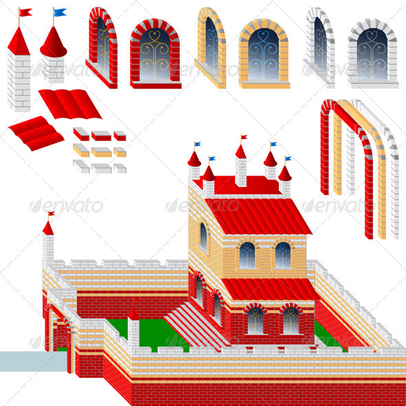 Set of Bricks and Palace - Buildings Objects