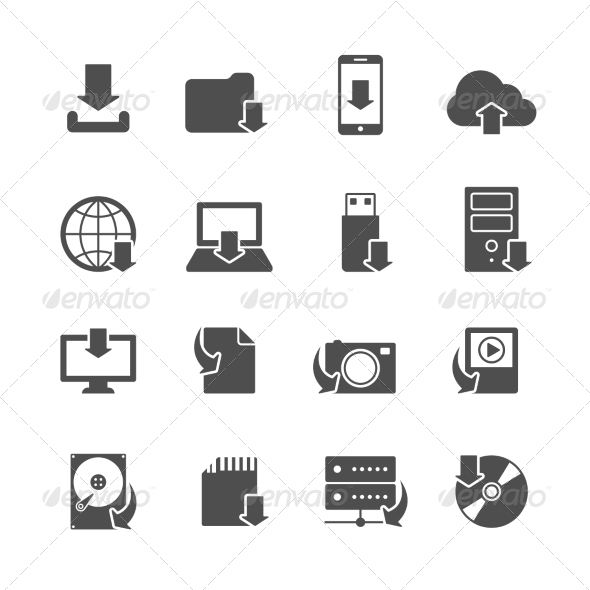 Internet Download Symbols Icons Set - Web Icons
