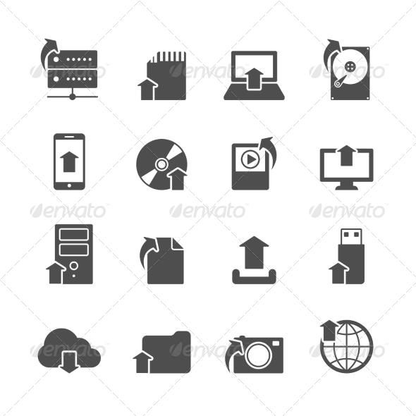 Internet Upload Symbols Icons Set - Web Icons