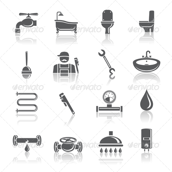 Plumbing Tools Pictograms Icons - Web Icons