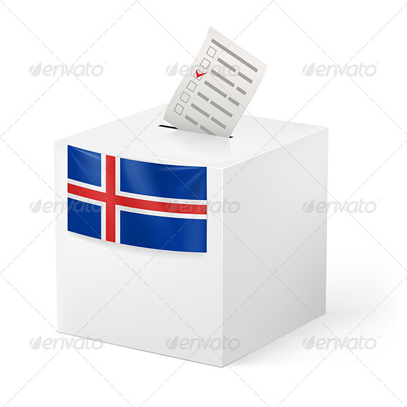 Ballot Box with Voting Paper Iceland	 - Miscellaneous Vectors