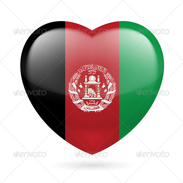 Heart Icon of Afghanistan - Miscellaneous Vectors