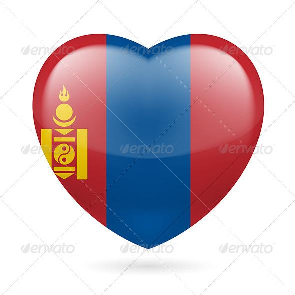 Heart Icon of Mongolia - Miscellaneous Vectors