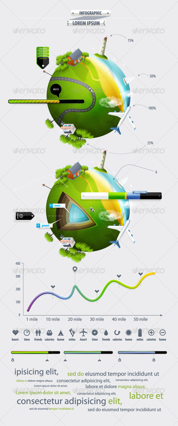 Elements of Infographics with the Ball Planet Eart - Infographics
