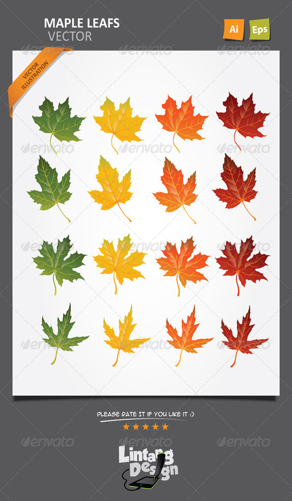 Maple Leaves Vector-001 - Flowers & Plants Nature