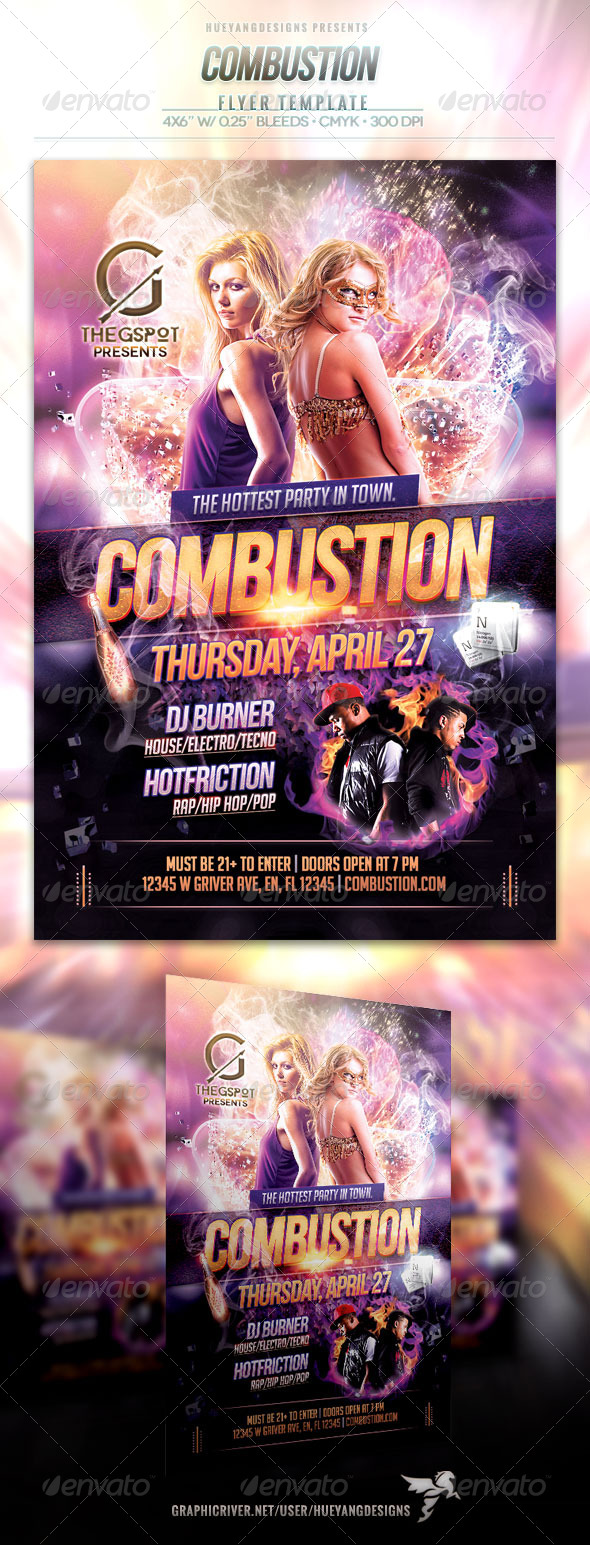 Combustion Flyer - Clubs & Parties Events