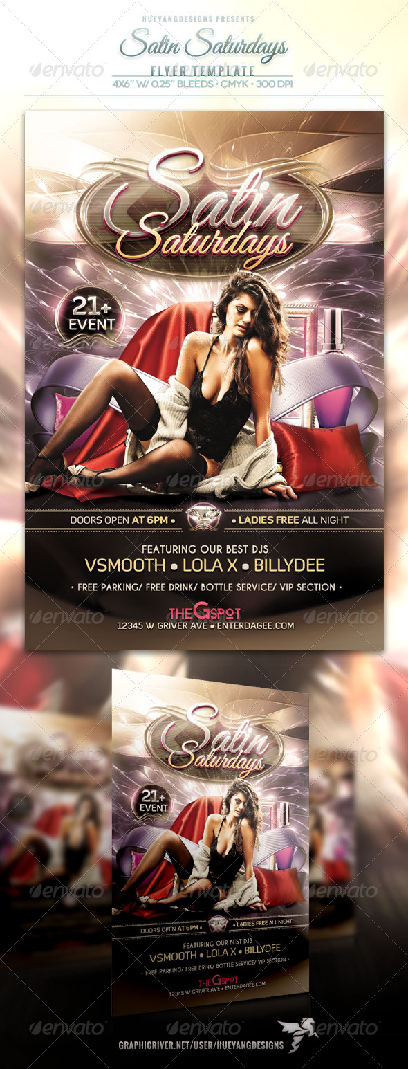 Satin Saturdays Flyer - Clubs & Parties Events