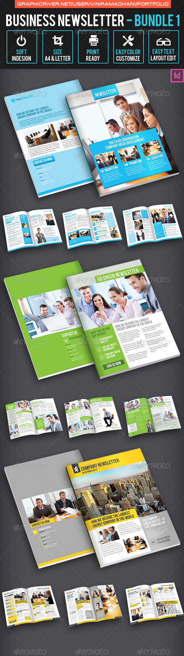Business Newsletter Bundle 1 - Newsletters Print Templates