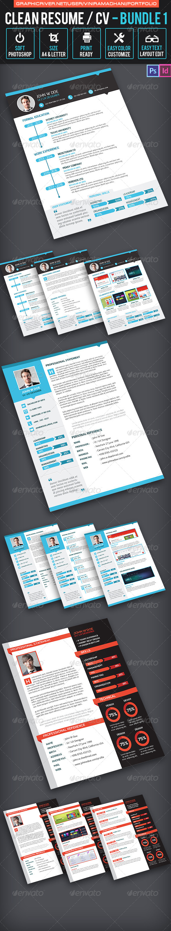 Simple Resume CV Bundle - Resumes Stationery