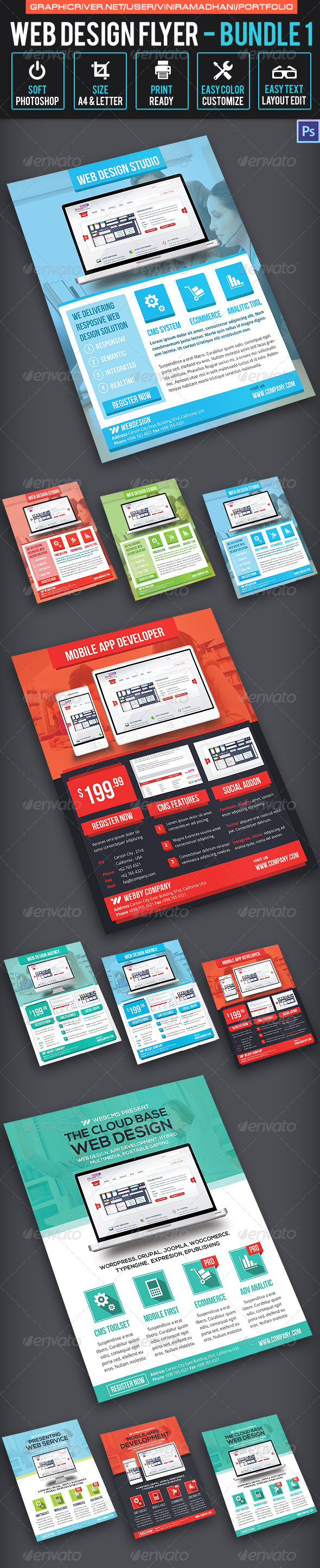 Web Design Flyer Bundle 1 - Corporate Flyers