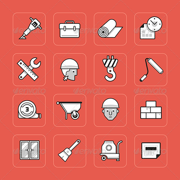 Construction Icons Set - Buildings Objects